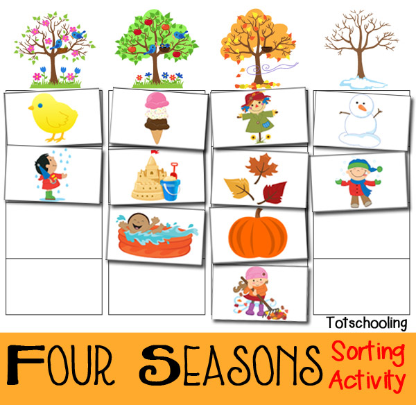 four seasons sorting activity free printable totschooling toddler preschool kindergarten. Black Bedroom Furniture Sets. Home Design Ideas