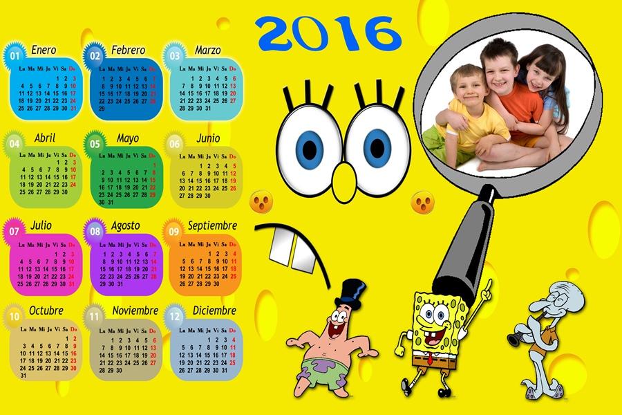 Calendarios para Photoshop: Calendario del 2016 de Bob Esponja para ...