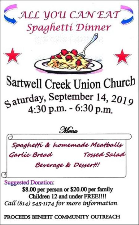 9-14 All You Can Eat Spaghetti Dinner, Sartwell Creek
