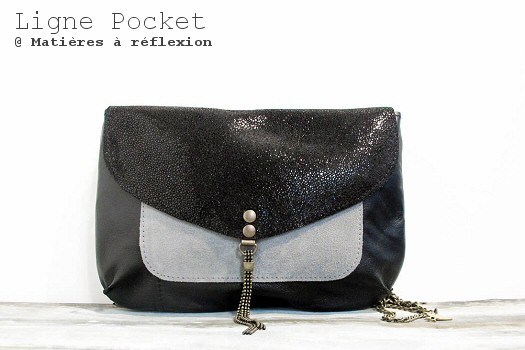 Pochette Letter Pocket noir/shiny/gris