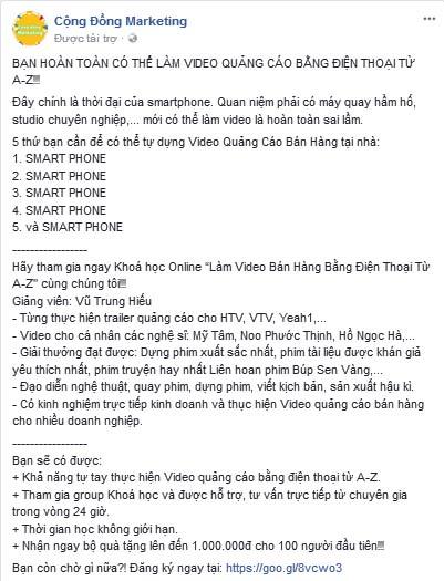 Mẫu viết quảng cáo facebook Video quảng cáo bằng điện thoại từ A đến Z