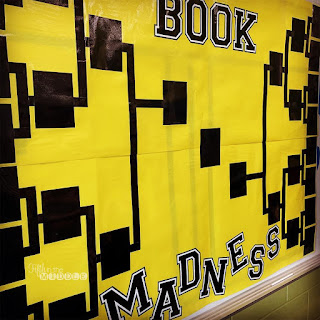 Book Madness: Details for Setup and Implementation - black placeholder on yellow bulletin board paper