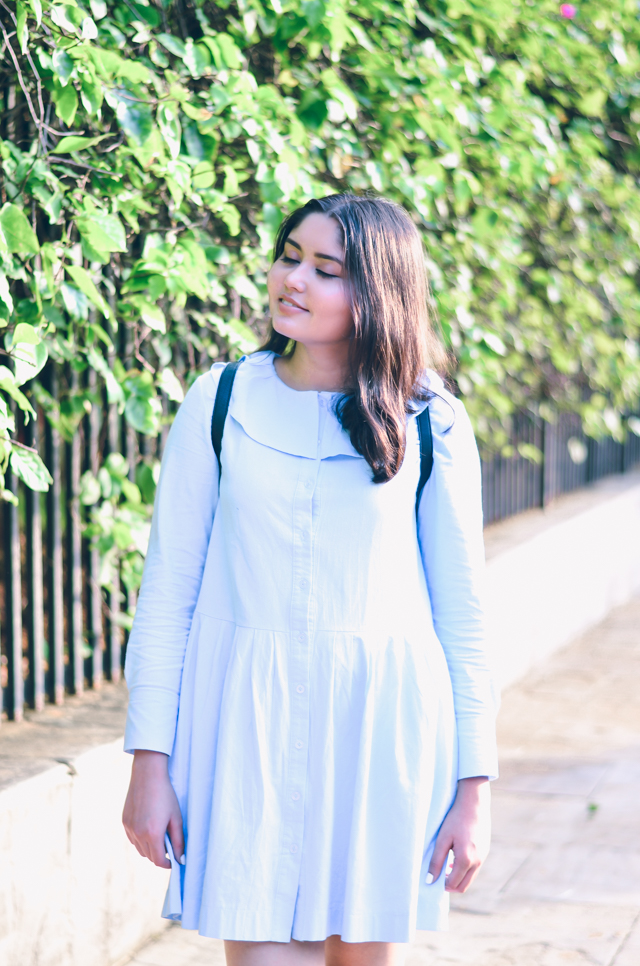 Blue Ruffled Flouncy Button Down Smock Dress Rosegal