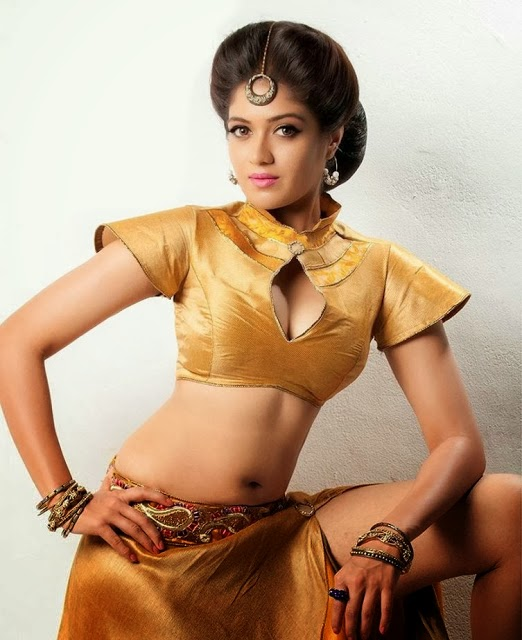 Meghana Raj Latest Hot Cleavage Show And Navel Show Photos