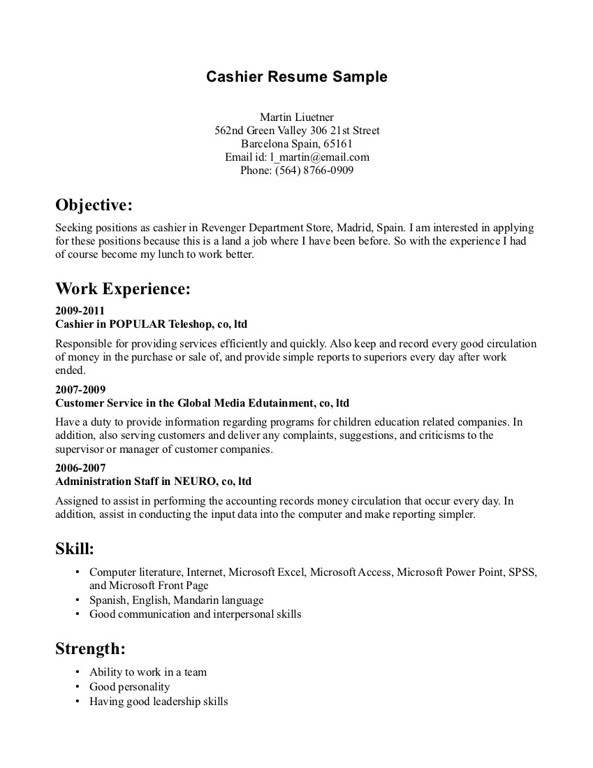 resume cashier samples