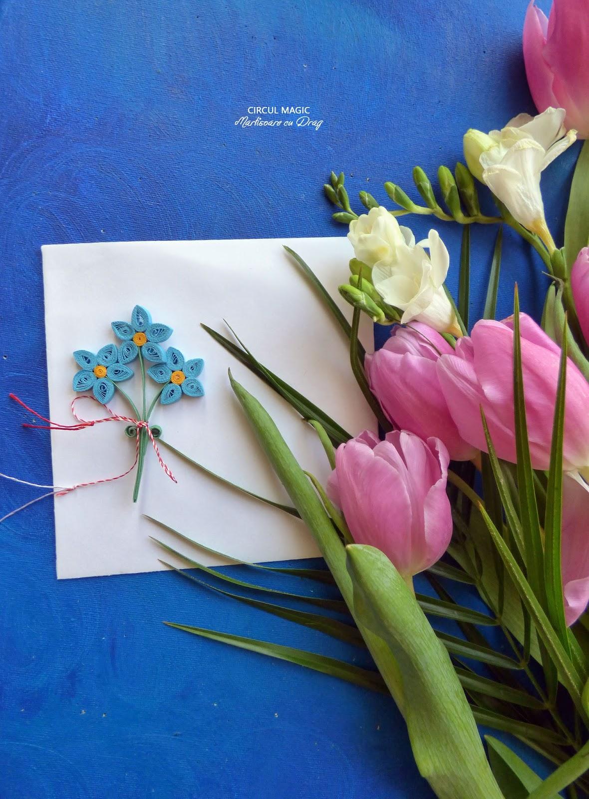 Martisoare Quilling 2017 Flori de Nu Ma Uita Handmade Circul Magicq