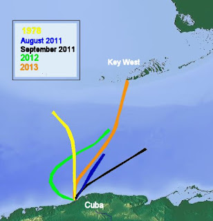 A map detailing Nyad's five attempts to complete the epic swim from Cuba to Key West