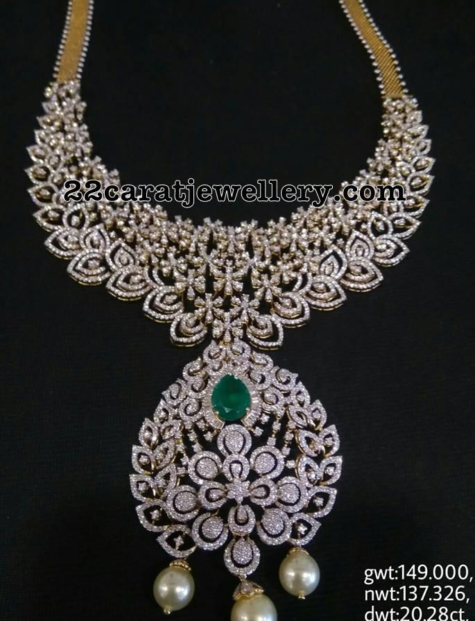 Heavy Diamond Sets By Sbj Abids Jewellery Designs