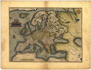 Mapa de Ortelius con el Océano de Hiperbórea cerca de Islandia - 1572