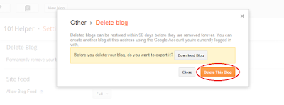 how to delete a blogger blog forever