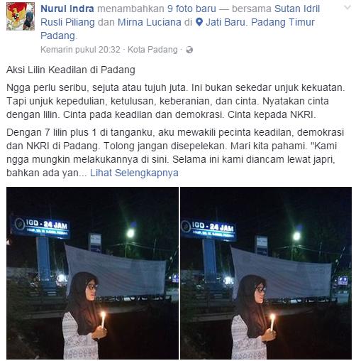 Aksi Lilin Keadilan di Padang