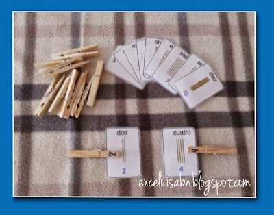 Numeración con pictograma ABN y pinzas de madera