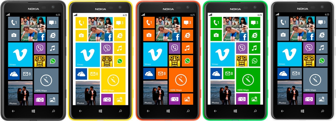 Nokia Lumia 625 Black, Yellow, Orange, Green, and White