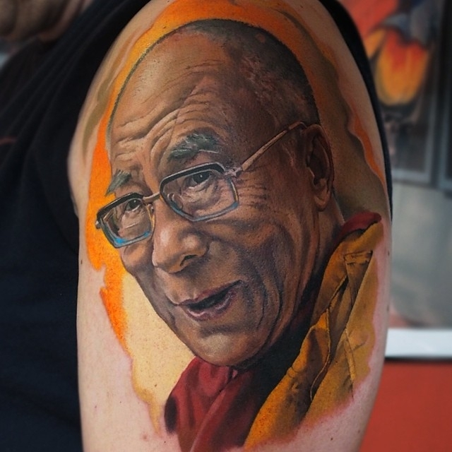04-14th-Dalai-Lama-Valentina-Ryabova-Art-and-Realism-in-Tattoo-Drawings-www-designstack-co