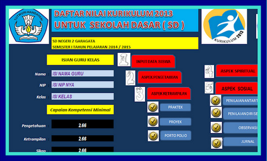 Download Daftar Nilai Kurikulum 2013 Terbaru