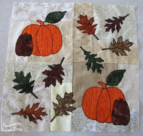 Appliques leaves and pumpkins block