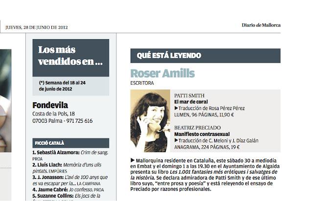 Diario de Mallorca   ¿Qué está leyendo Roser Amills?