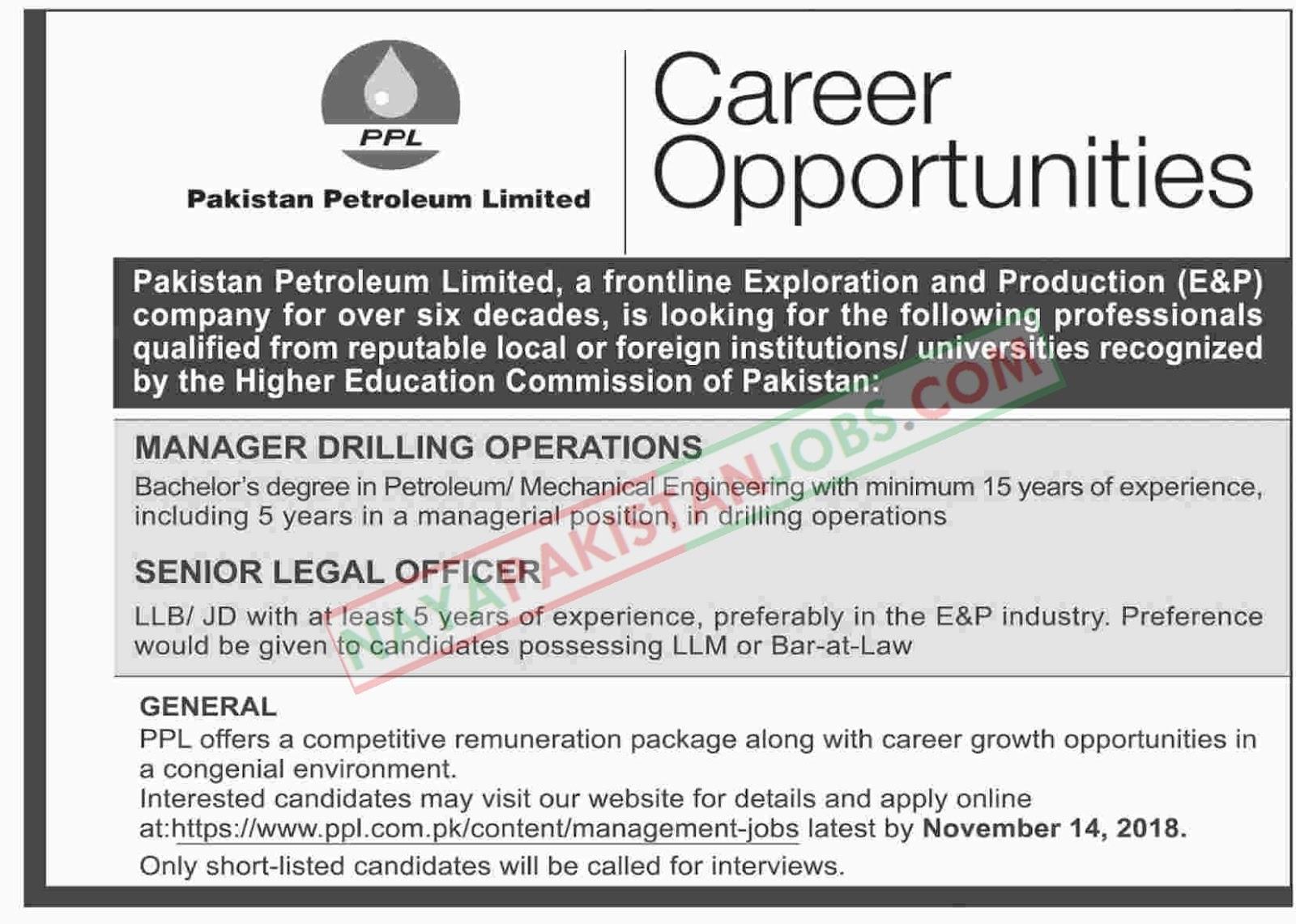 Latest Vacancies Announced in Pakistan Petroleum Limited PPL 5 November 2018 - Naya Pakistan
