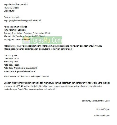 Download Contoh Surat Lamaran Kerja Jadi Wartawan Reporter TV Radio dan Koran Terbaru