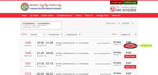 TSRTC Online Booking