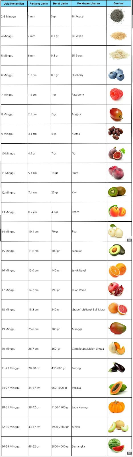 Ukuran normal berat badan janin