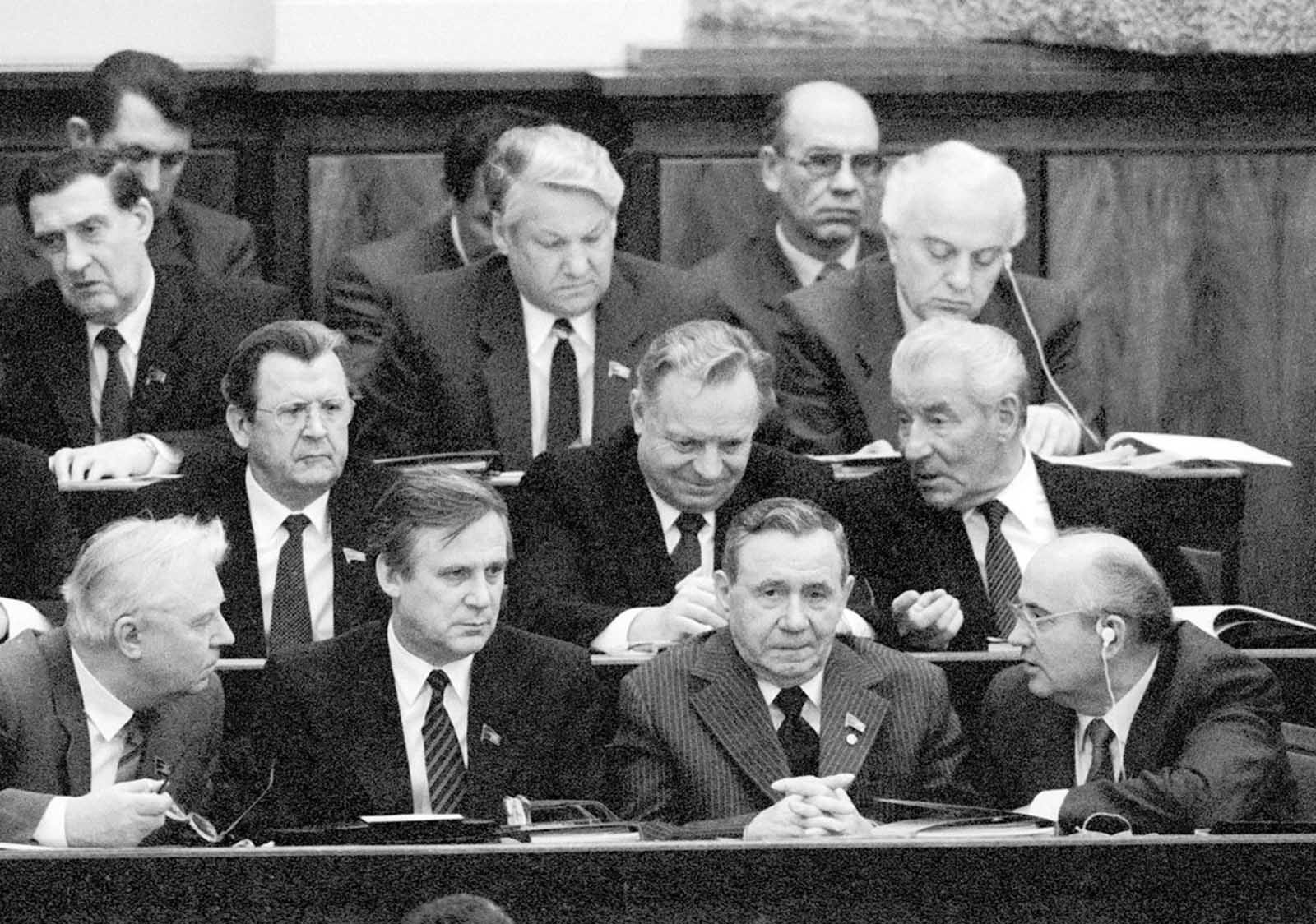 Yeltsin is not a regional party official boss anymore but already a federal Soviet communist party top official - you can see Gorbachev on this photo too. 1986.