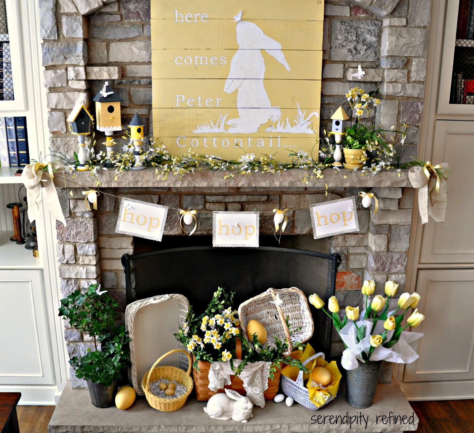 18 Spring Decor Ideas: Serendipity Refined Blog: Yellow And White Spring Bunny Mantel