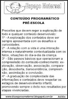 Conteúdo programático pré-escola