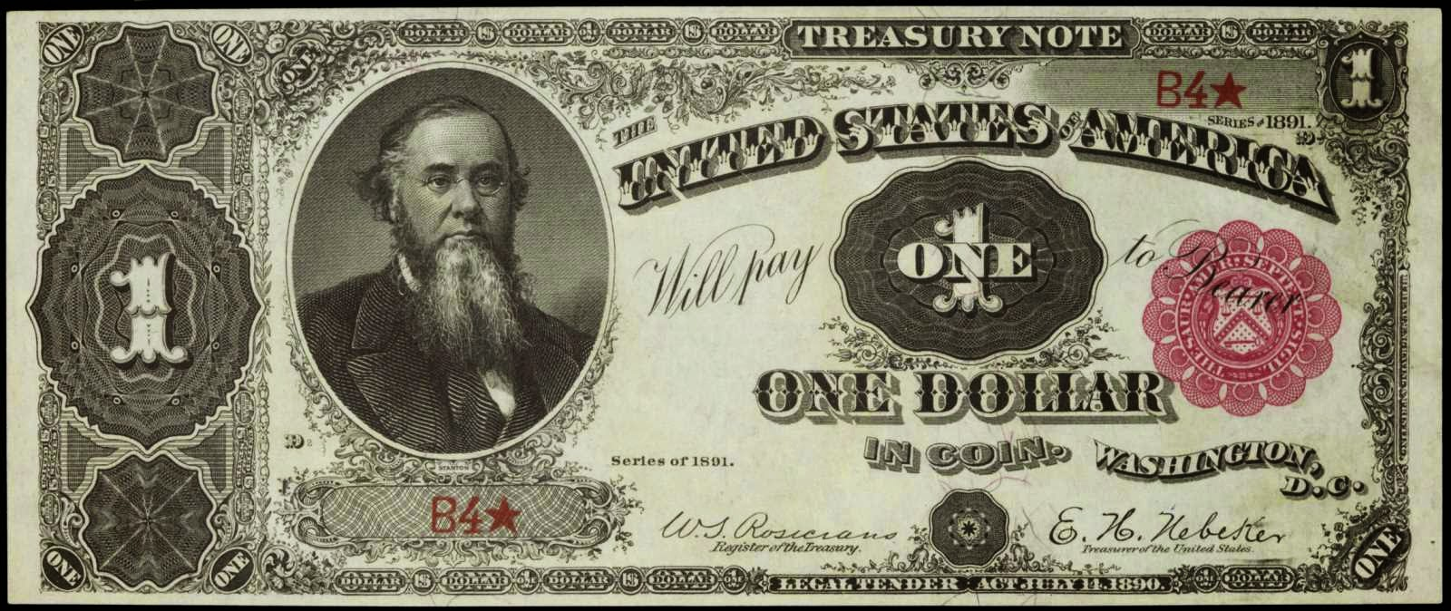 US currency 1891 One Dollar Treasury or Coin Note