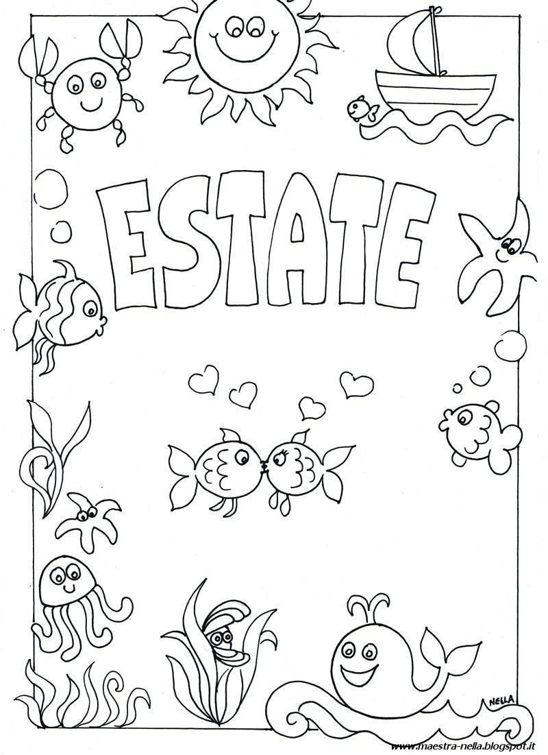 Maestra nella estate for Disegni da colorare estate