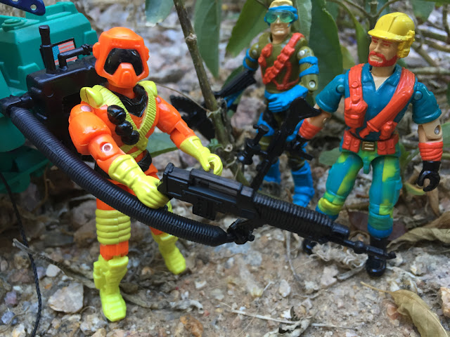 1994 Ice Cream Soldier, Flamethrower, 1993 Mirage, Mega Marines, Outback, Eco Warriors, Mud Buster