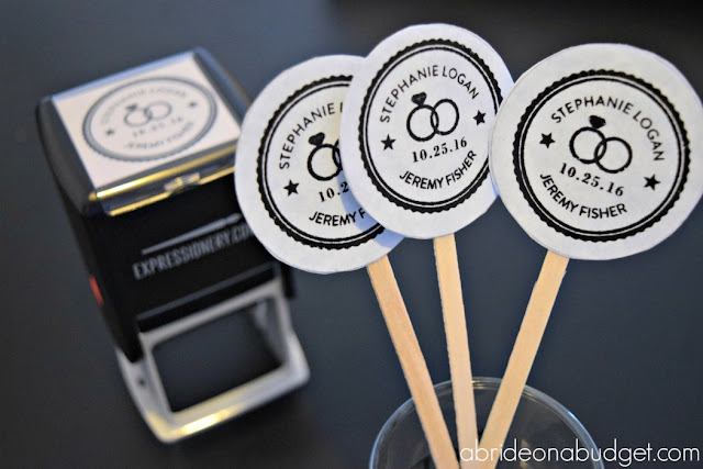 Stamps are so helpful when you're wedding planning. You can use them at bridal expos, making your own favor tags, and more. Find out all about them at www.abrideonabudget.com. #spon