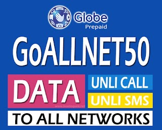 Globe GoALLNET50 - 3 Days Unli call and Text to all networks + 300MB Data