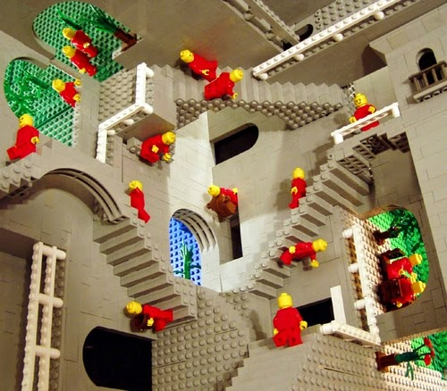 09-Relativity-Andrew-Lipson-Surreal-M-C-Escher-v-Lego-in-Drawing-v-Sculpture-www-designstack-co