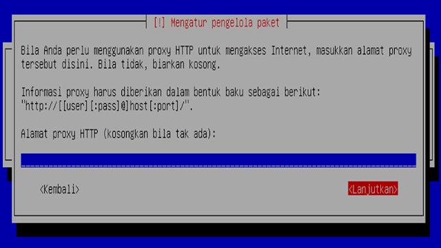 Instalasi Debian - Mengatur pengolahan paket (biarkan kosong)