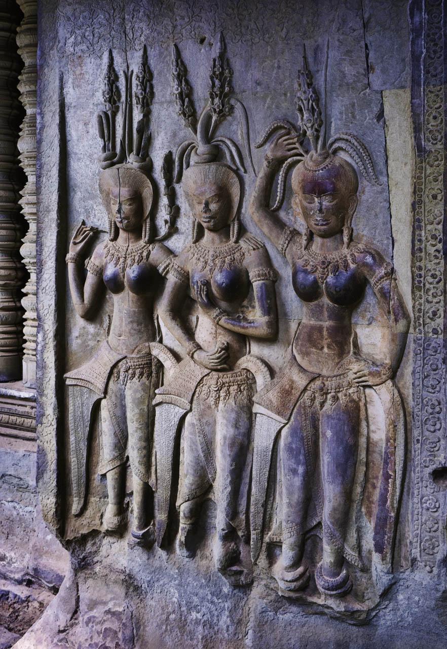 Jim Cox Photos: Three Apsara Angkor Wat Temple Painting