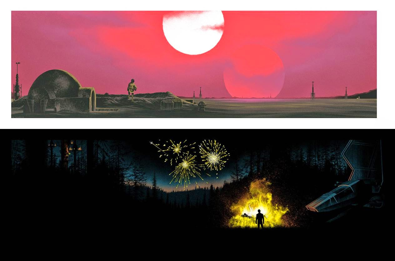 """I'm Here to Rescue You"" Star Wars Variant Screen Prints by Mark Englert - Tatooine Variant & Endor Variant"