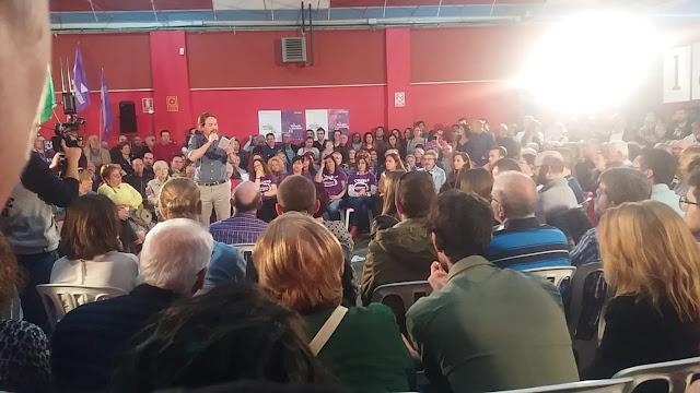 Aforo completo en el mitin de Pablo Iglesias en Miranda de Ebro