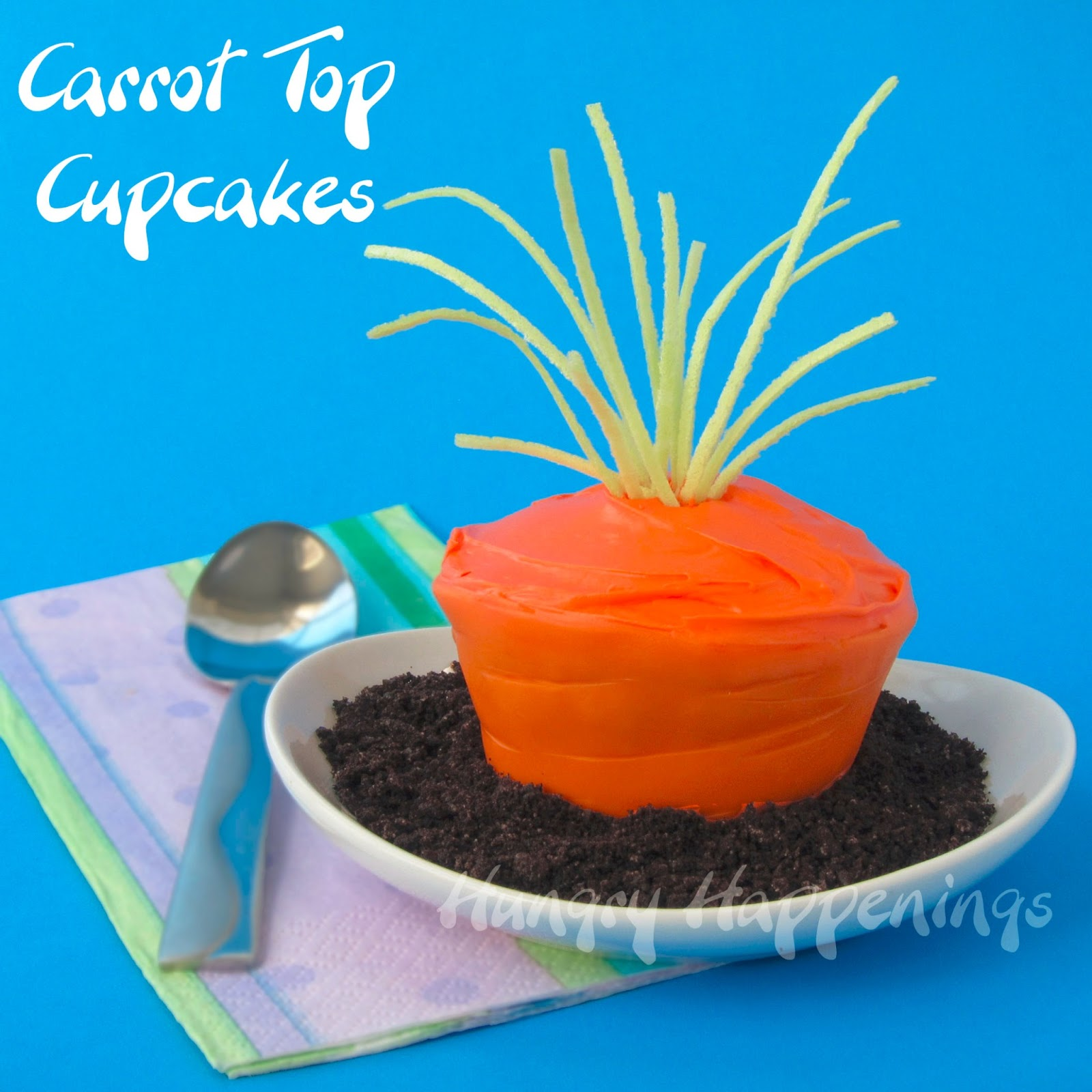 Easter Carrot Top Cupcakes with Edible Cupcake Wrappers