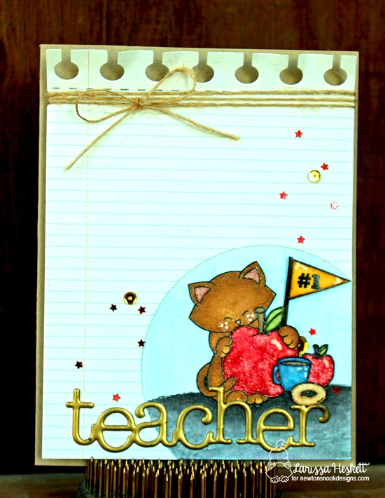 Apple and Cat Teacher card by Larissa Heskett | Newton Dreams of New York Stamp Set by Newton's Nook Designs #newtonsnook