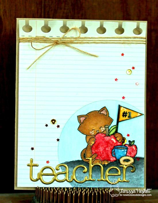 Apple and Cat Teacher card by Larissa Heskett | Newton Dreams of New York Stamp Set by Newton's Nook Designs #newtonsnook