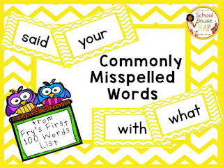 Commonly Misspelled Fry Words from 1st 100 List