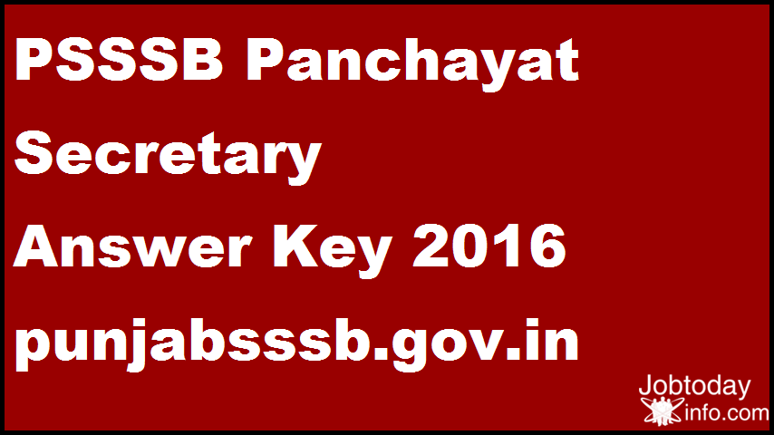 PSSSB Panchayat Secretary Answer Key 2016 punjabsssb.gov.in