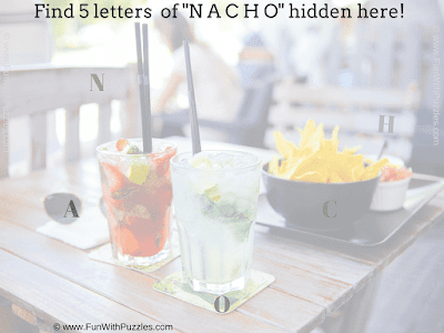 Answer of Hidden Letters NACHO Picture Puzzle