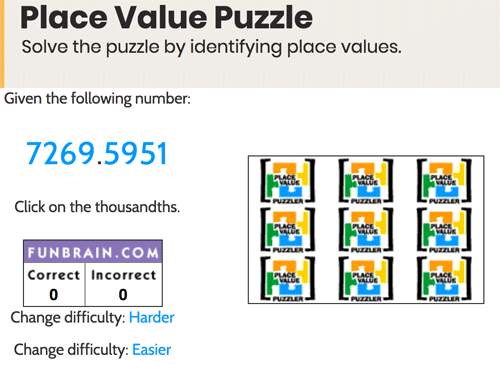 Place value puzzle games