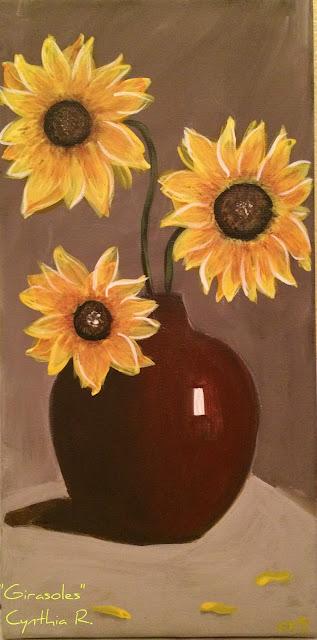 sunflowers, girasoles, pintura acrílica en canvas, acrylic painting on canvas, florero café, brown flower vase
