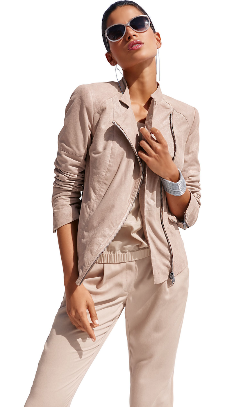 Madeleine Leather Jacket in Nude
