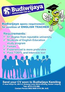 Lowongan Kerja Terbaru Dari Budiwijaya Education Center Kemiling Bandar Lampung.