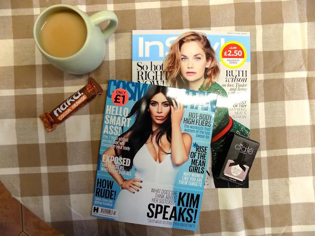 Kim Kardashian Cosmo magazine & InStyle flatlay