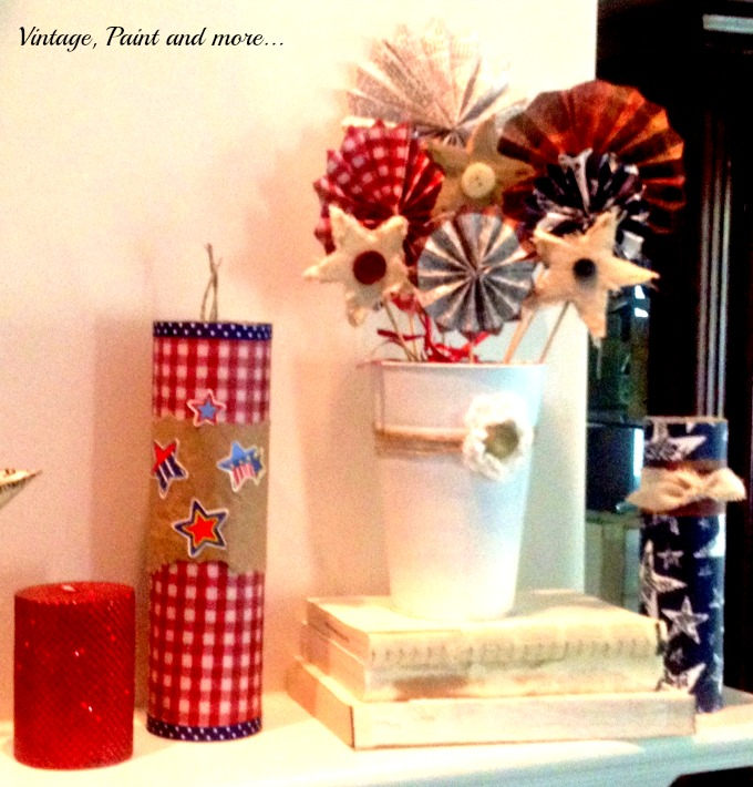 Vintage, Paint and more... 4th of July crafts, crafts from pringle cans, vintage patriotic crafts